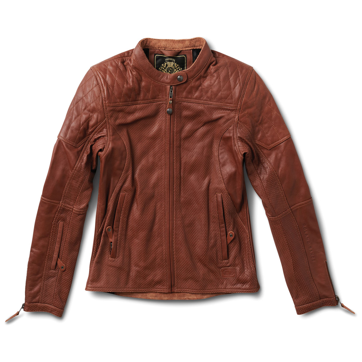 Roland Sands Design Apparel Women's Trinity Brown Perforated Leather Jacket