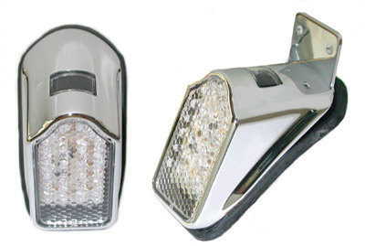 V-Twin Manufacturing Mini Tombstone LED Tailight Chrome Without Bracket