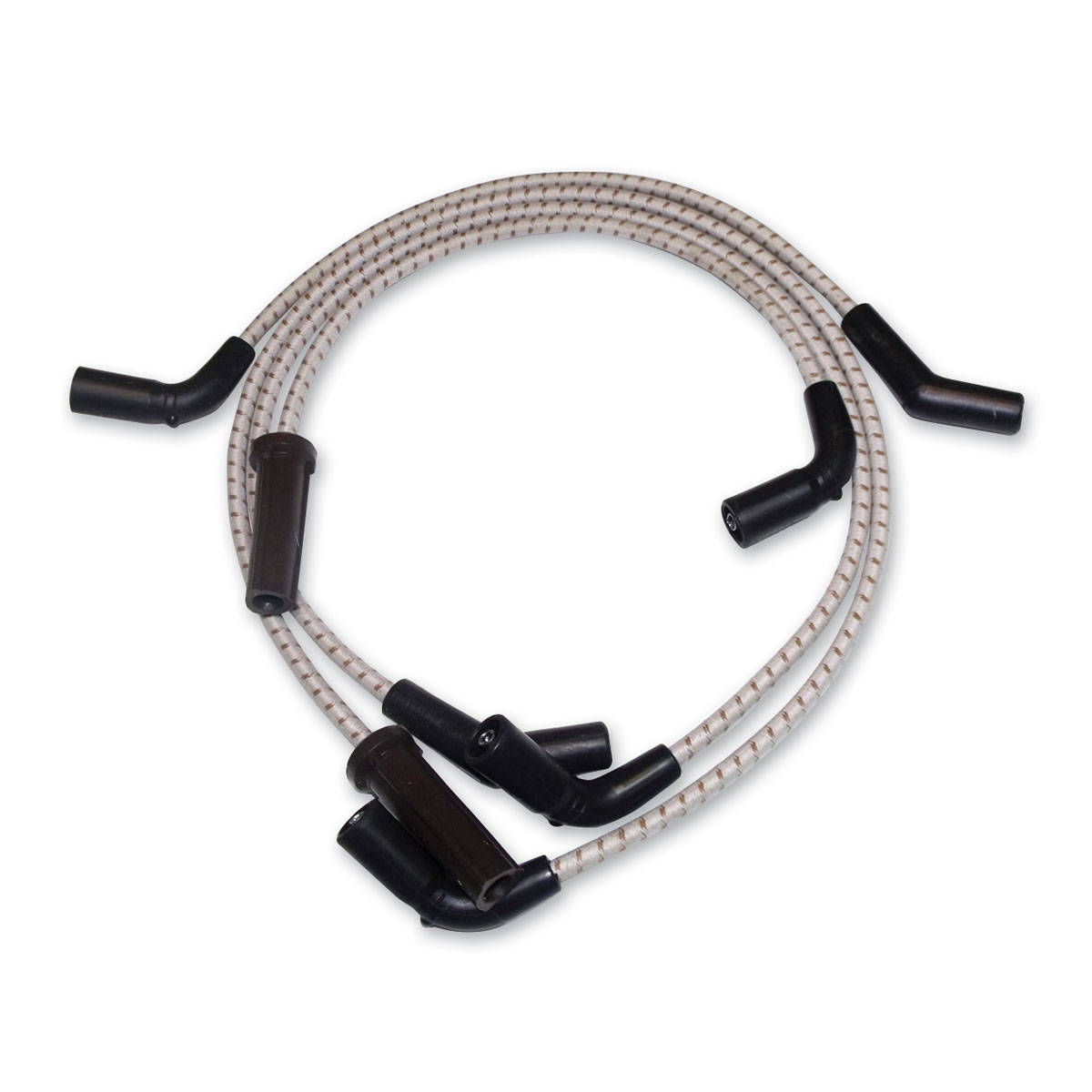 Sumax Gray with Brown Tracer Braided Cloth Spark Plug Wire Set
