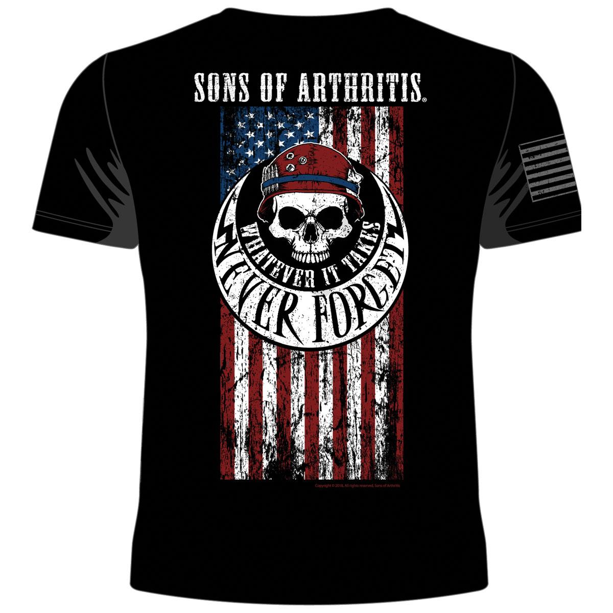 Sons of Arthritis Men's Never Forget Skull & Flag Black T-Shirt
