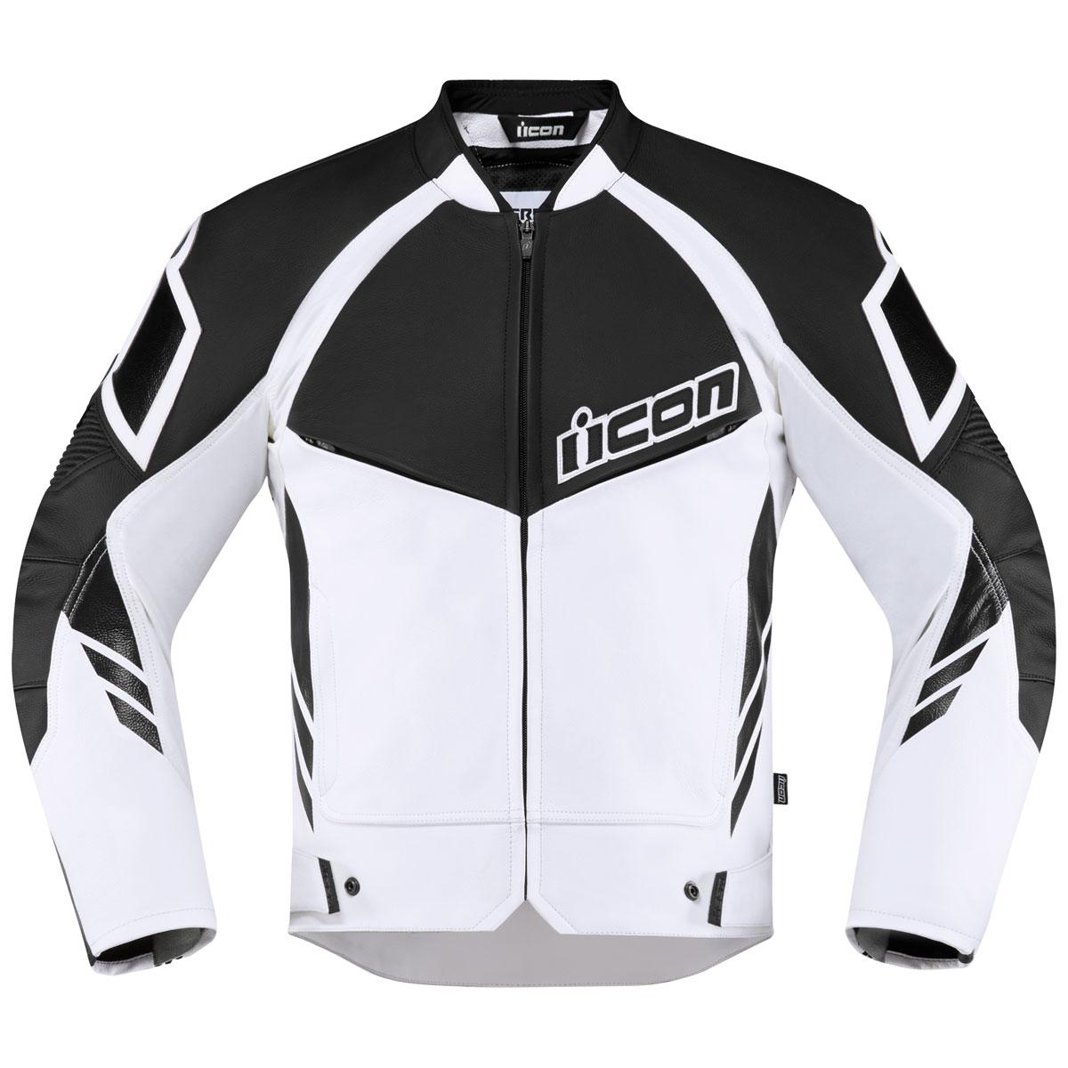 ICON Men's Hypersport 2 White Leather Jacket