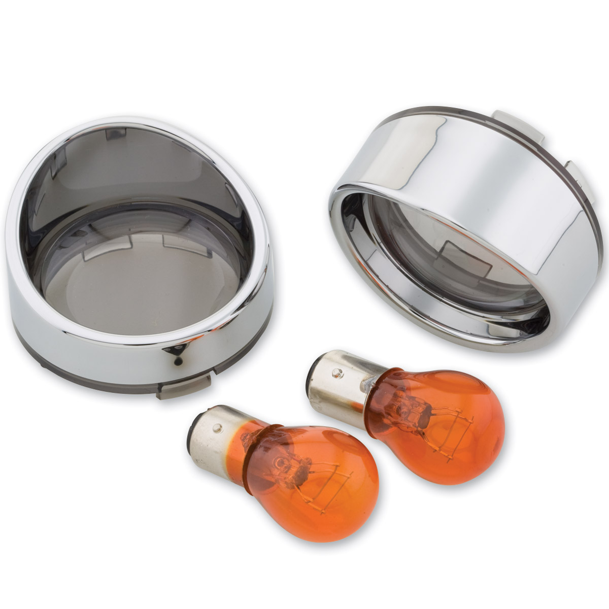 J&P Cycles® Turn Signal Lens Kit with Smoked Front Lens Kit and Amber Bulbs