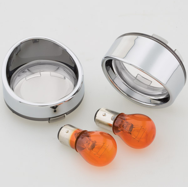 J&P Cycles® Turn Signal Lens and Bezel Kit with Clear Front Lenses and Amber Bulbs