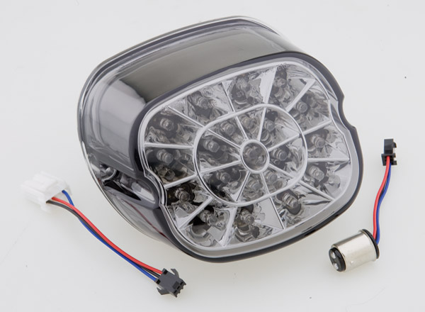 J&P Cycles® Webbed LED Taillight with Smoked Lens