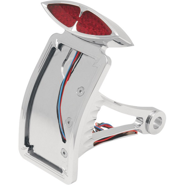 Curved Vertical Side-Mount Deco Taillight with License Plate Mount