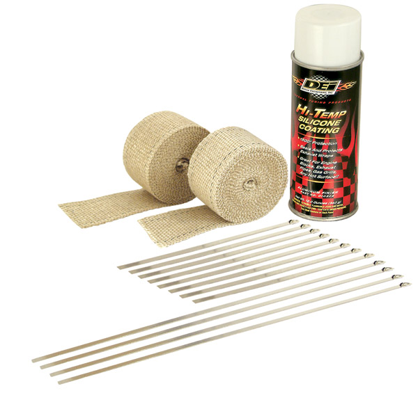 Design Engineering Inc. Motorcycle Exhaust Wrap Kit with Tan Wrap