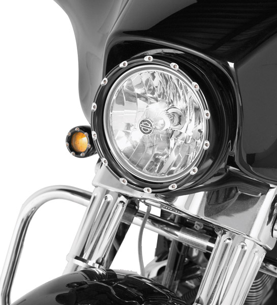 Arlen Ness Black Fire Ring with Clear LED Running Lights for 7