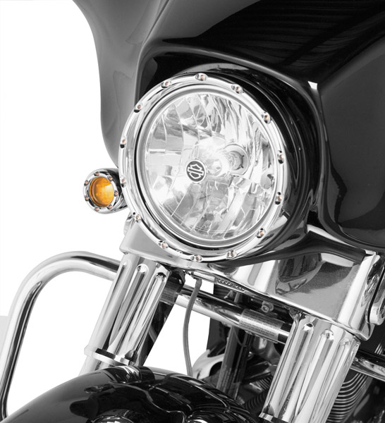 Arlen Ness Chrome Fire Ring with Amber LED Turn Signal for 7