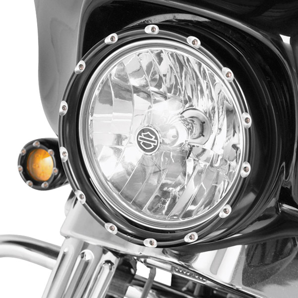 Arlen Ness Black Fire Ring with Amber LED Turn Signal for 7
