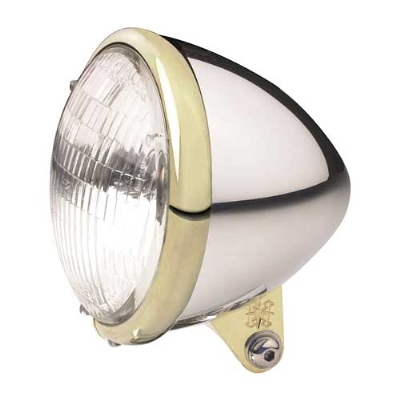 Headwinds 5-3/4″ Standard Bullet Smooth Brass & Aluminum Headlight with Mount