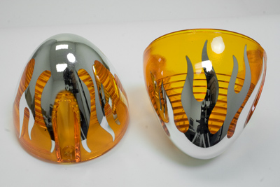 Motor City Cycle Amber Front Turn Signal Lenses w/ Flames