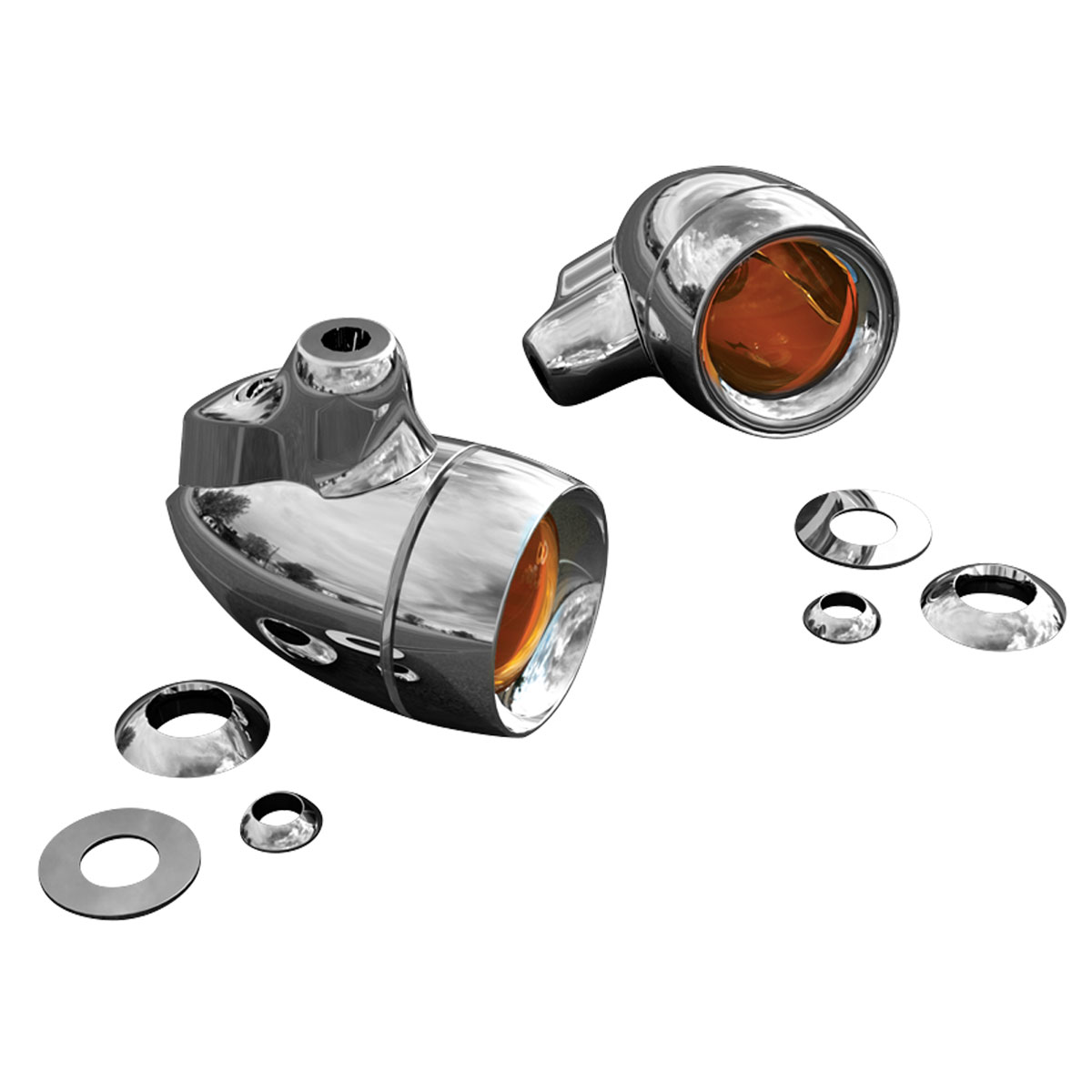 Kuryakyn Universal Amber Dual Circuit Turn Signals with Smoked Lenses