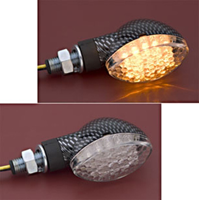 J&P Cycles® Carbon Fiber LED Mini Cateye Marker Light Amber Right