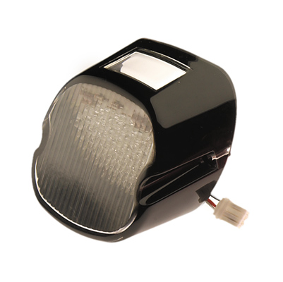Custom Chome Clear 'Blackout' 'Laydown' Taillight Lens with LED Lights