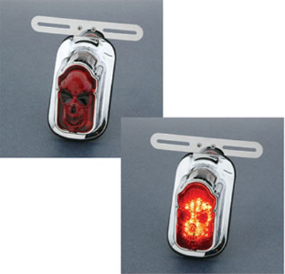 J&P Cycles® Tombstone LED Taillight with Skull Lense