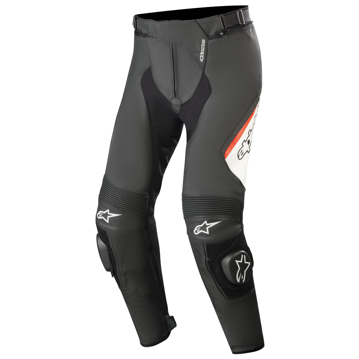 Alpinestars Men's Missile v2 Black/White/Red Leather Pants