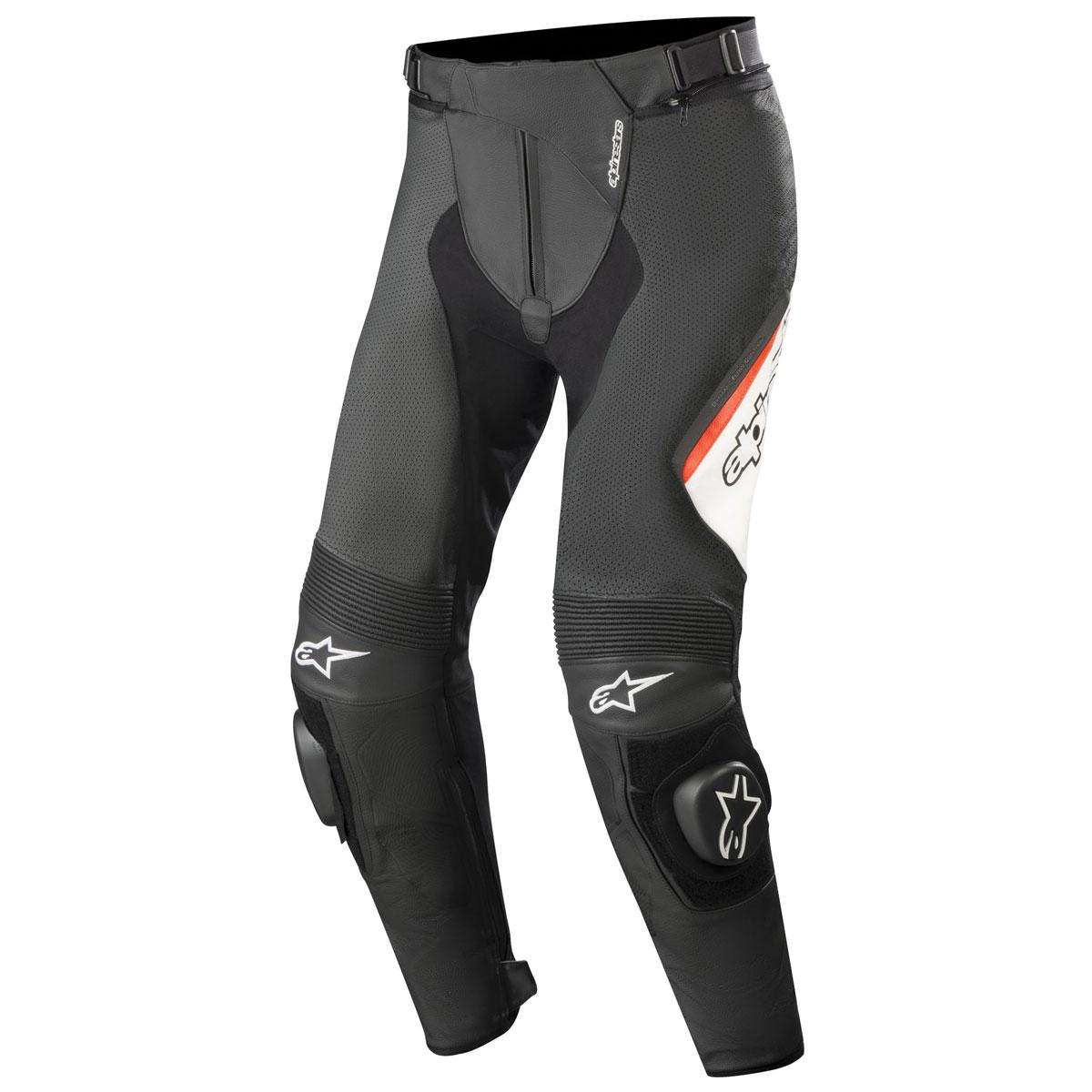 Alpinestars Men's Missile v2 Airflow Black/White/Red Leather Pants