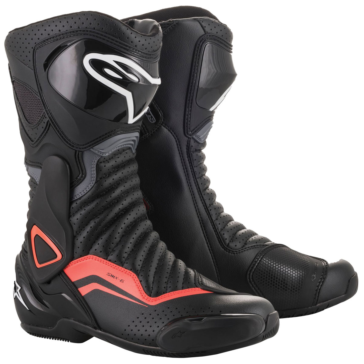 Alpinestars Men's SMX-6 v2 Vented Black/Gray/Red Fluo Boots