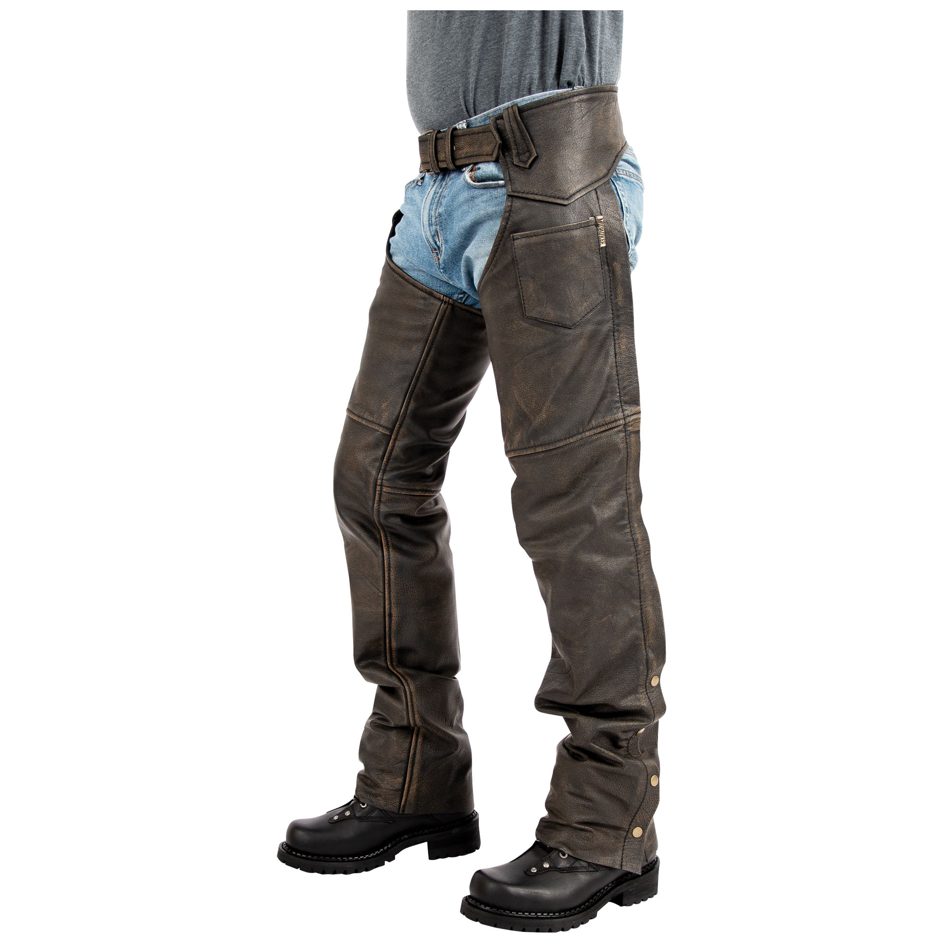 Milwaukee Motorcycle Clothing Co. Men's Heritage Brown Leather Chaps