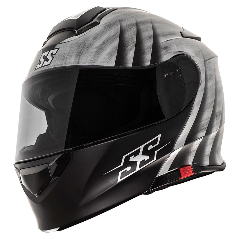 Speed and Strength SS4100 Spikes Silver Modular Helmet