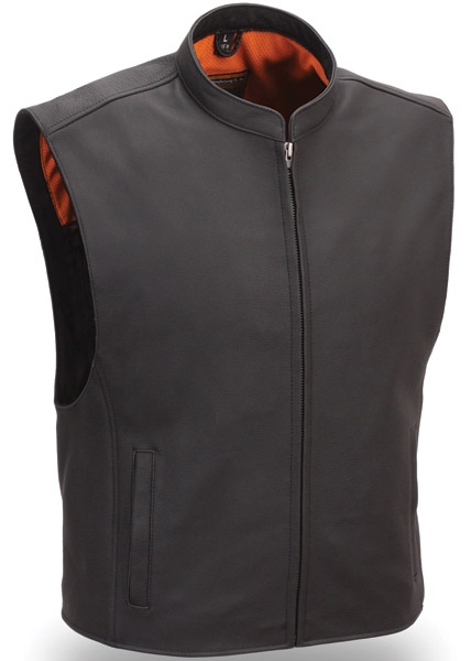 First Manufacturing Co. Zip Front Club Patch Leather Vest