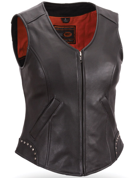 First Manufacturing Co. Women's Riveted Zip Front Leather Vest