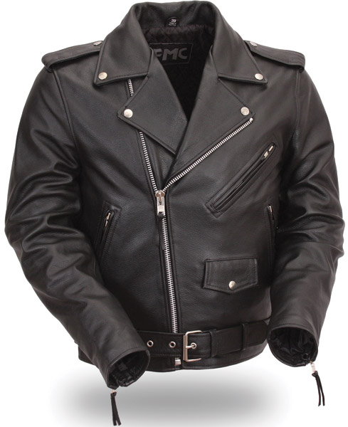 FMC Men's Classic Side-Lace Leather Motorcycle Jacket