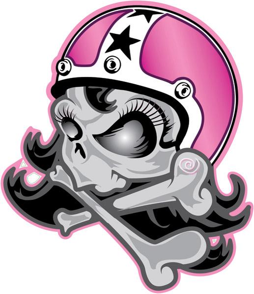 Lethal Threat Girl Skull Helmet Decal  JP Cycles - Motorcycle helmet decals
