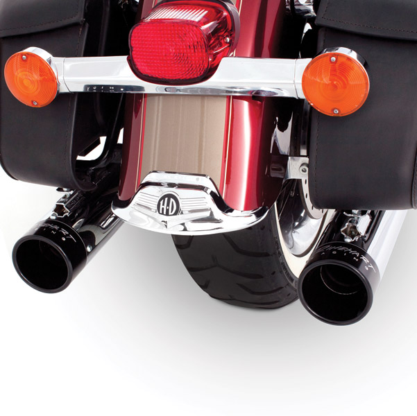 Rinehart Racing Classic Duals Chrome Exhaust System w/ Black End Caps
