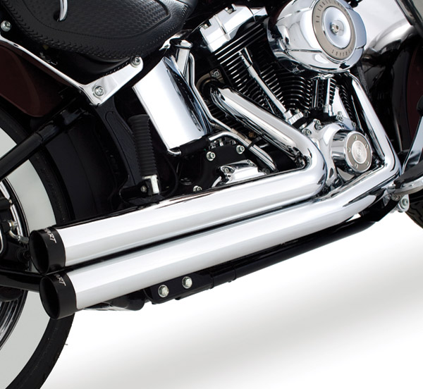 Rinehart Racing 2-into-2 Flush Exhaust Chrome with Black End Caps