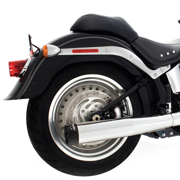 Rinehart Racing 2-into-1 exhaust Chrome with Black End Cap