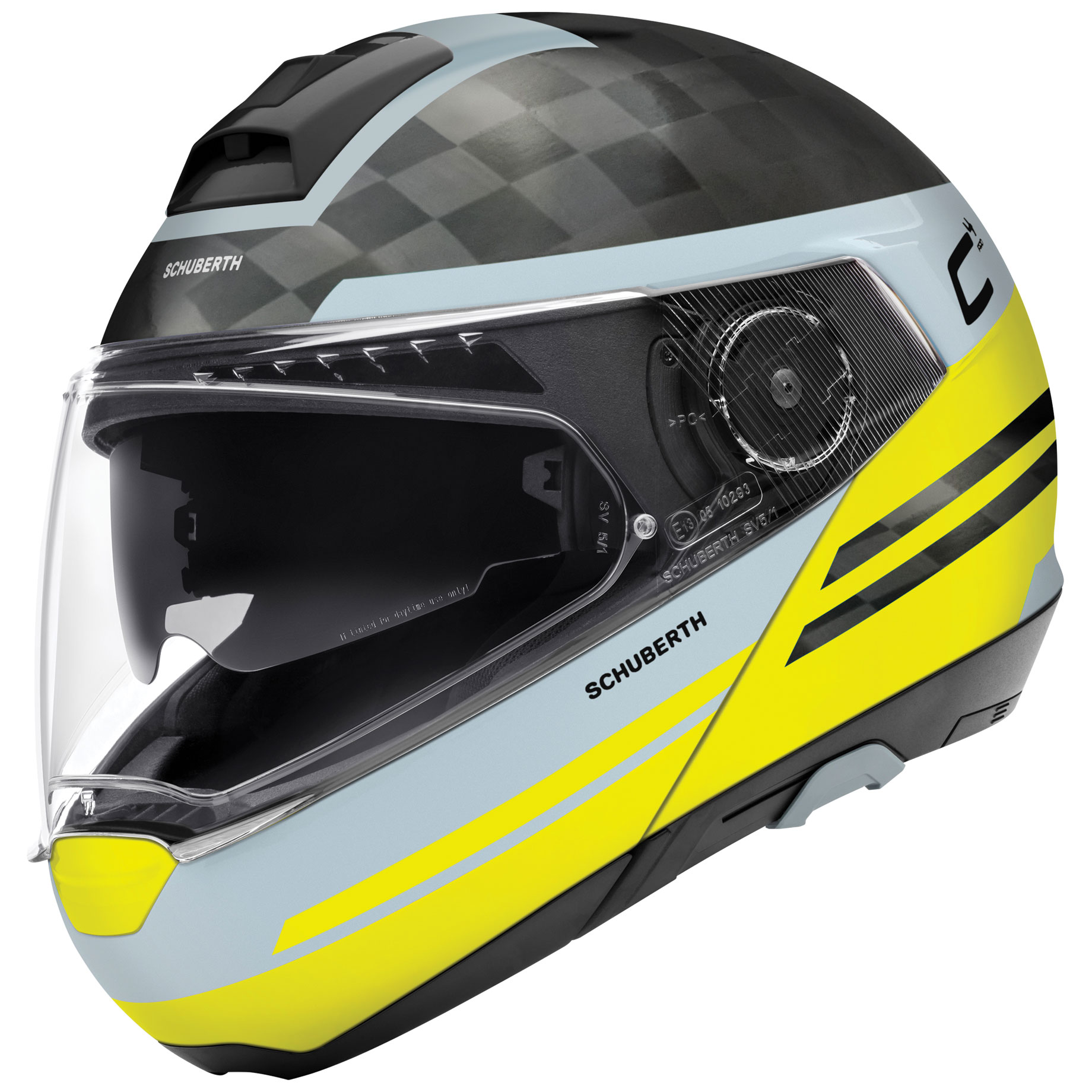 Schuberth C4 Pro Carbon Tempest Yellow Modular Helmet