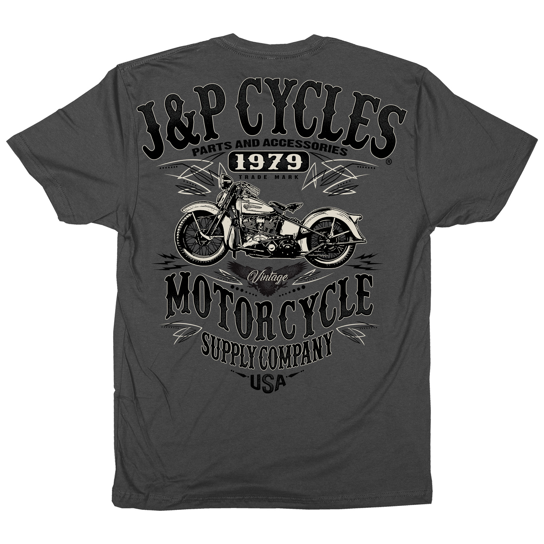 J&P Cycles Men's Vintage Muscle Charcoal T-Shirt