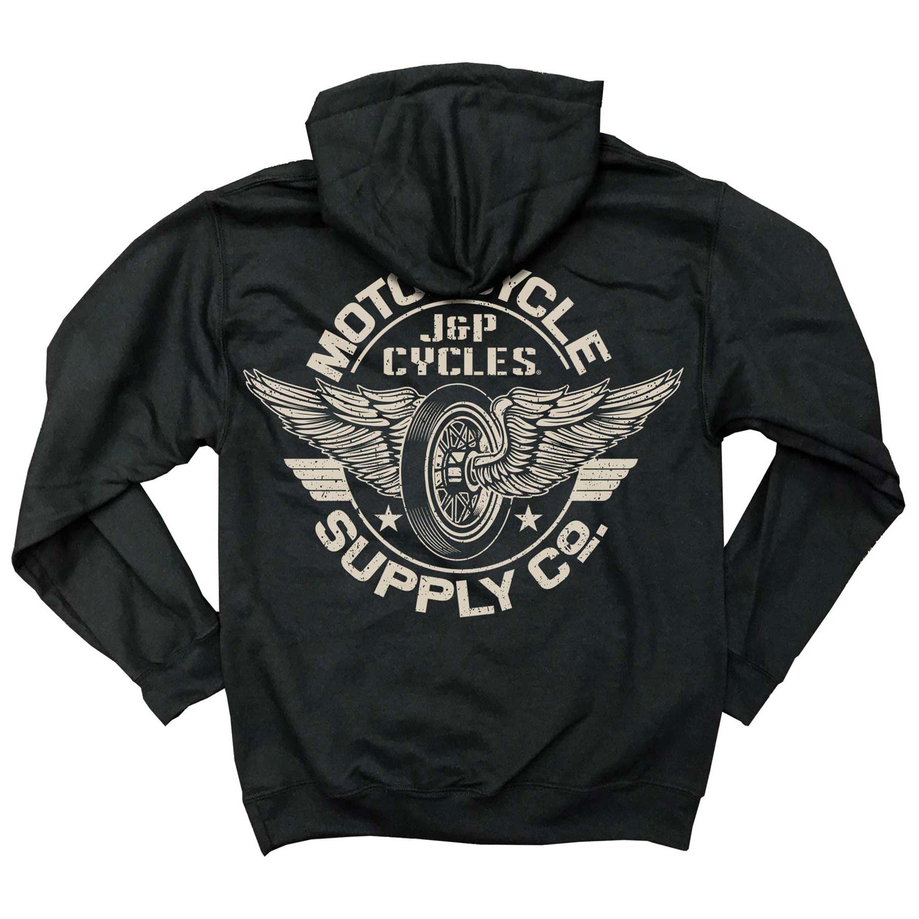 J&P Cycles Men's Winged Wheel Black Full-Zip Hoodie
