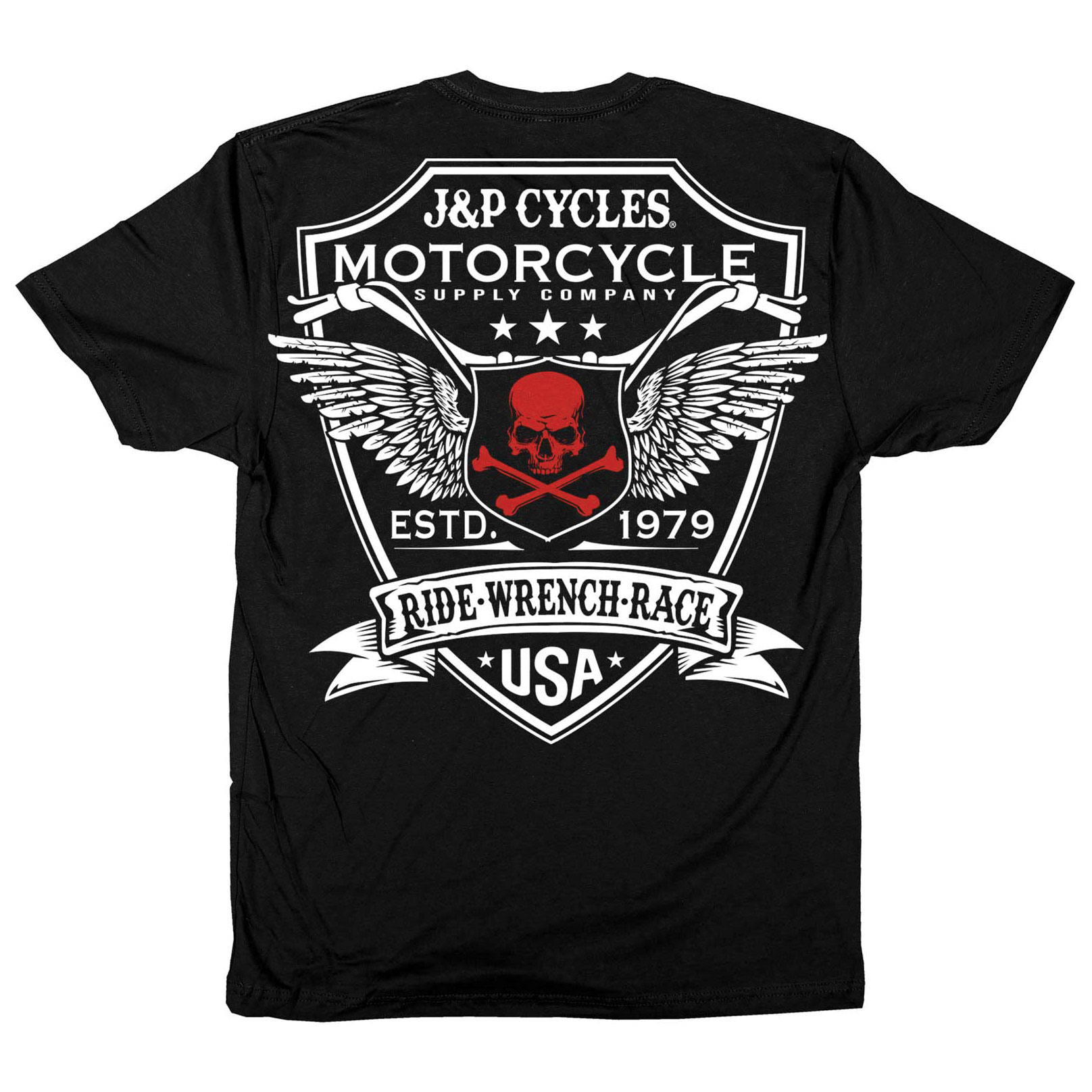 J&P Cycles Men's Attitude Shield Black T-Shirt