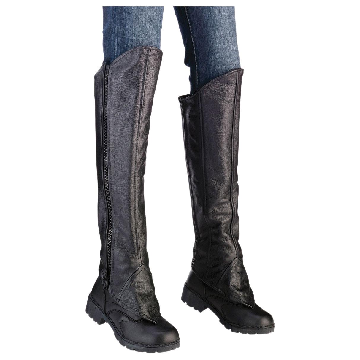 Z1R Women's Black Leather Half Chaps