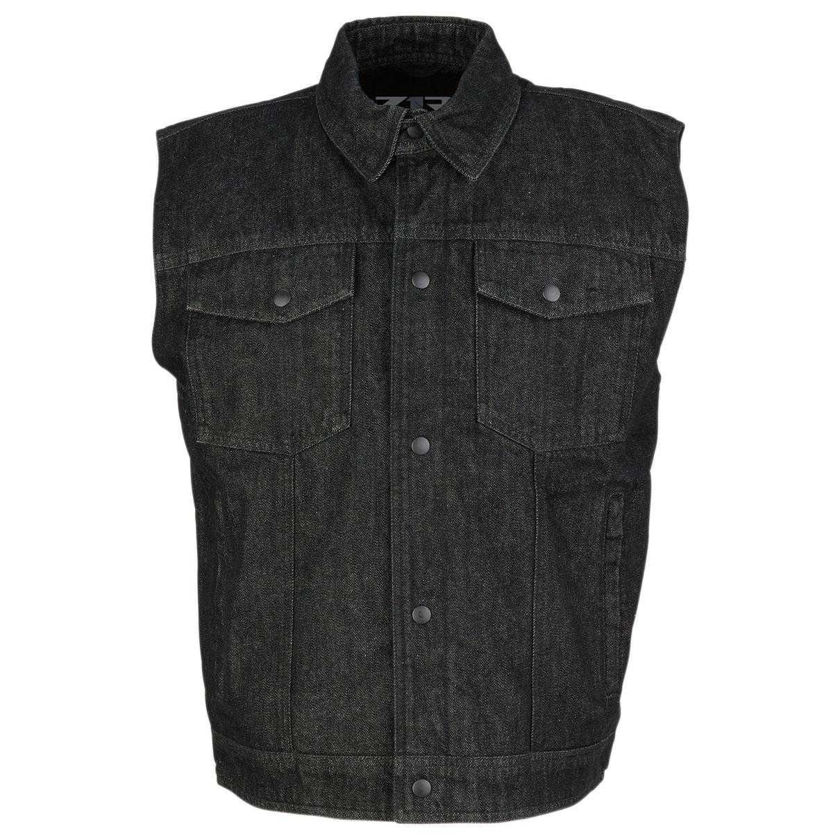 Z1R Men's Black Denim Vest