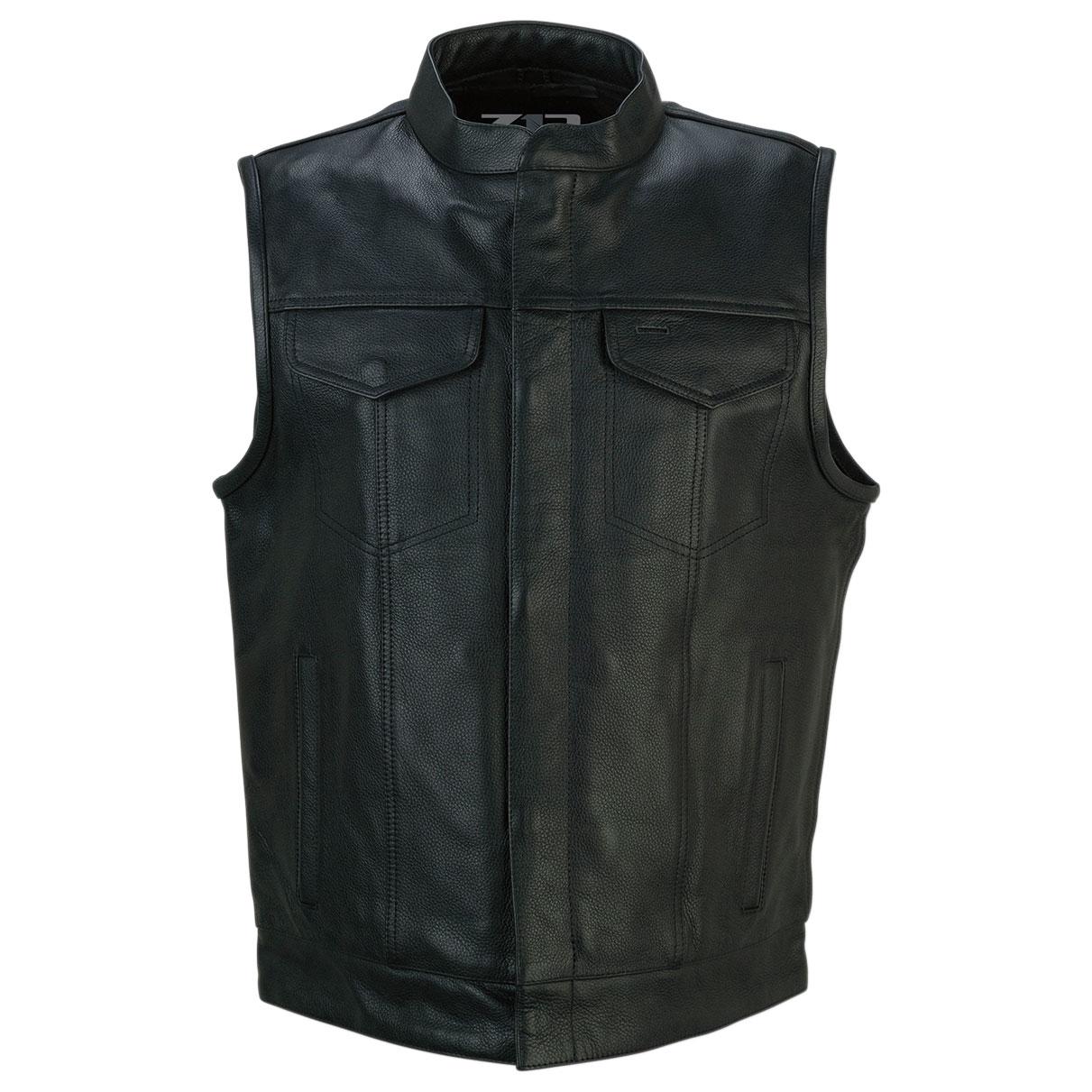 Z1R Men's Vindicator Black Leather Vest