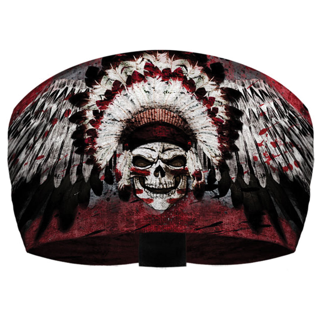 That's A Wrap Winged Chief Skull Maroon Knotty Band