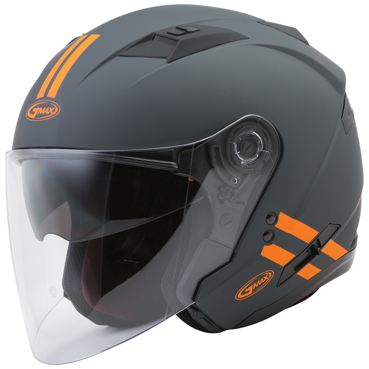 GMAX OF77 Downey Gray/Orange Open Face Helmet