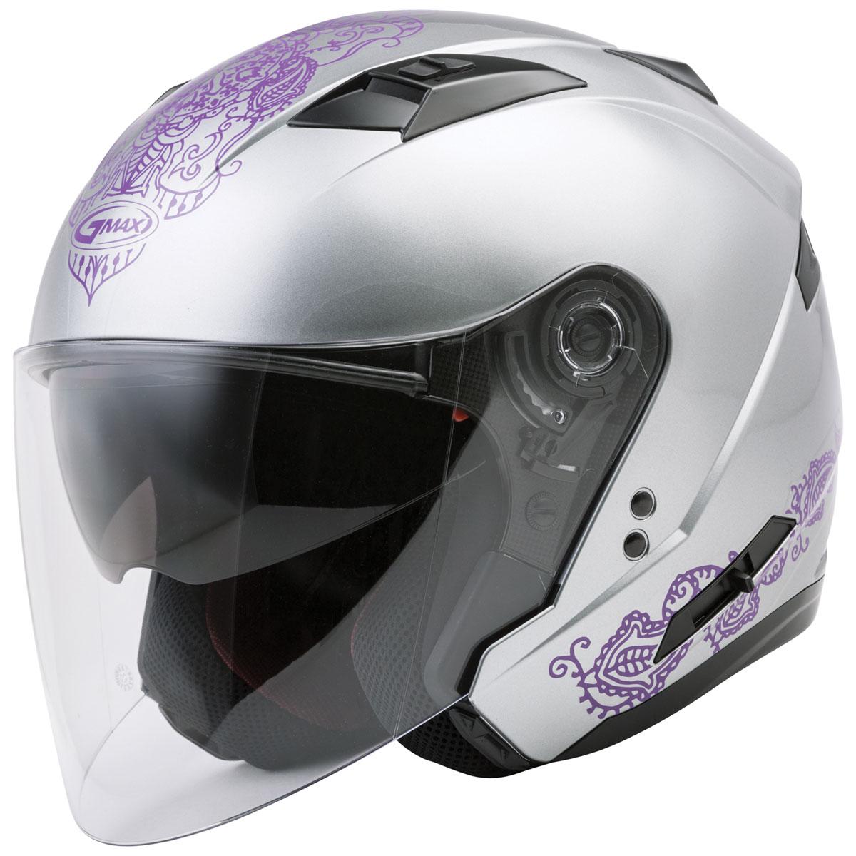 GMAX OF77 Eternal Silver/Violet Open Face Helmet