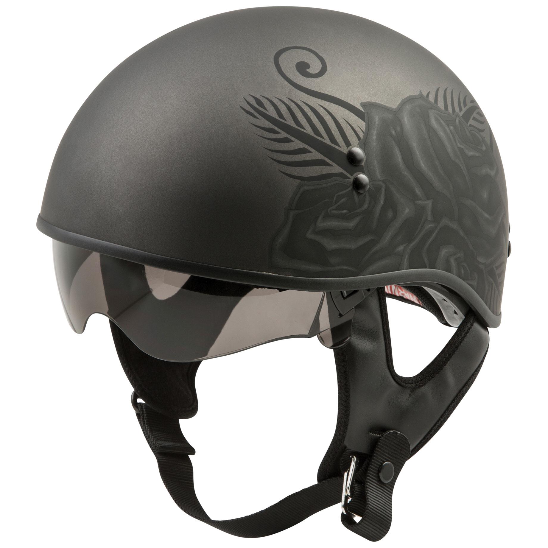 GMAX HH-65 Devotion Matte Black Naked Half Helmet