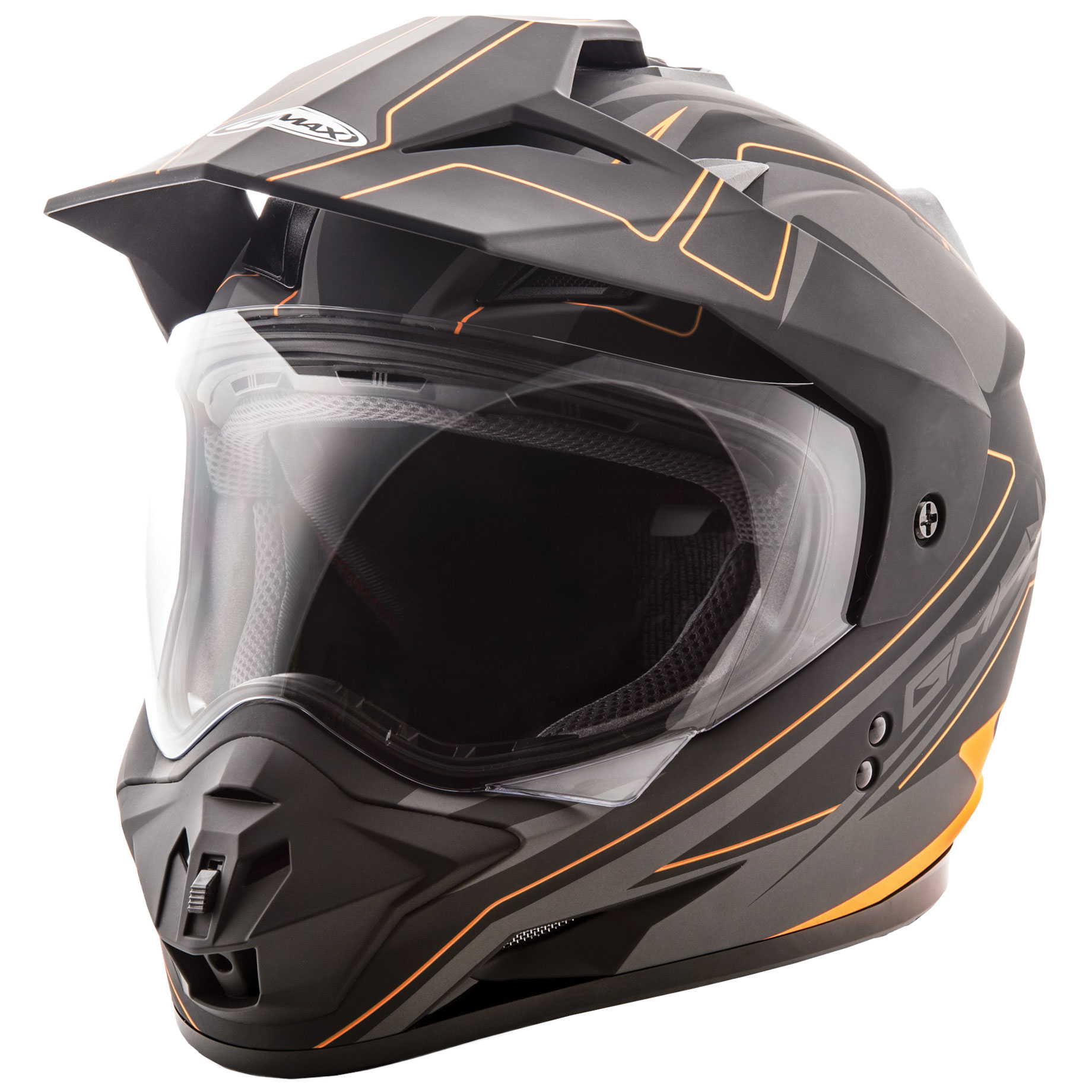 GMAX GM11 Expedition Matte Black/Hi-Viz Orange Dual Sport Helmet