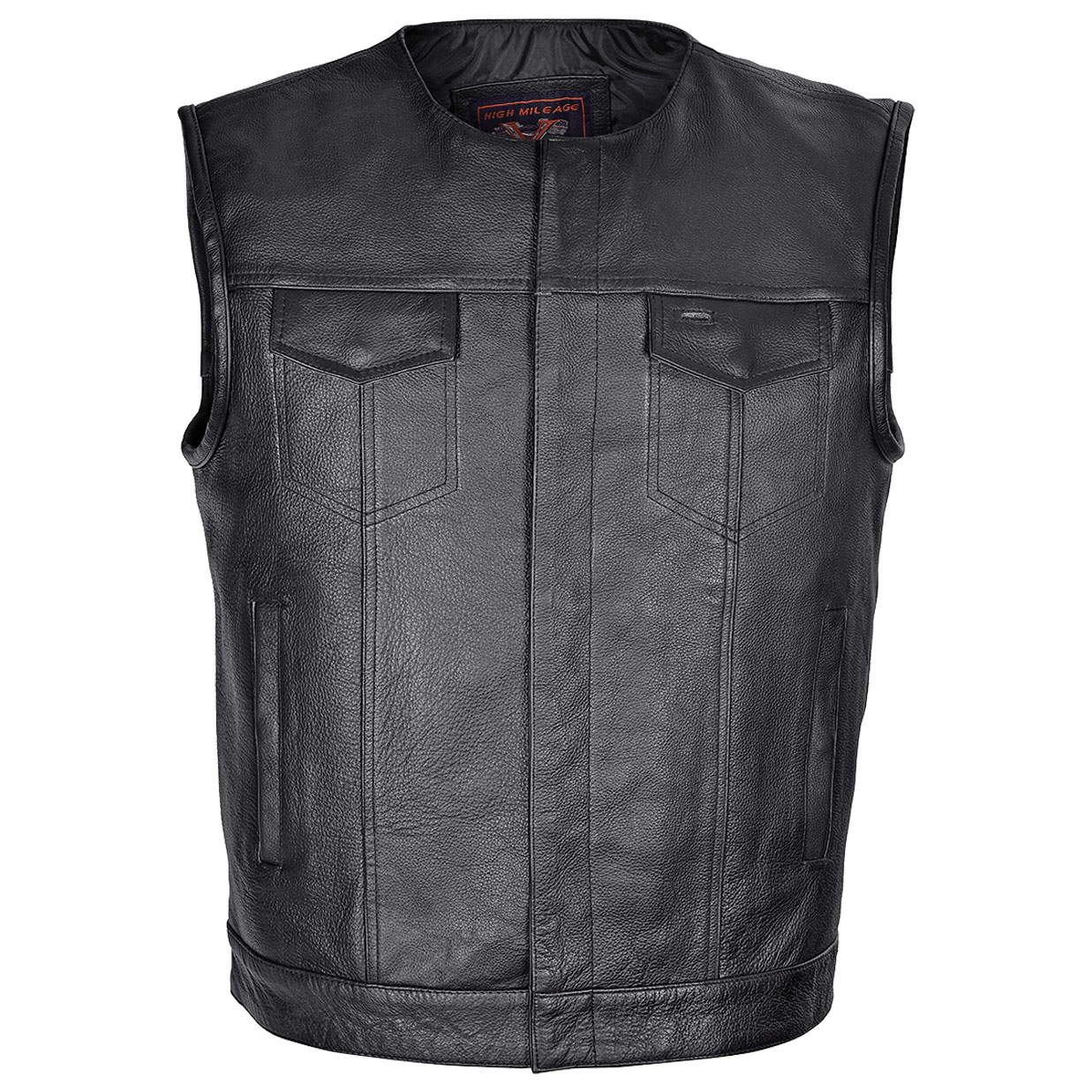 Vance Leathers Men's Collarless Concealed Carry Black Leather Vest