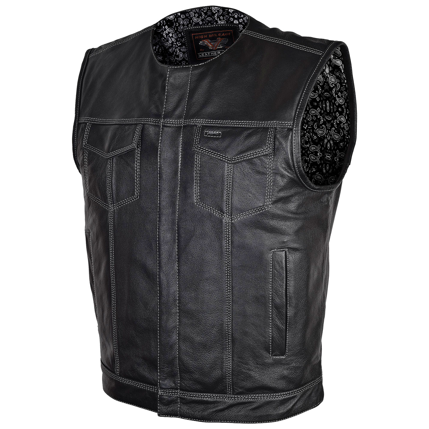 Vance Leathers Men's Concealed Carry Black Leather Vest with Black Paisley Liner