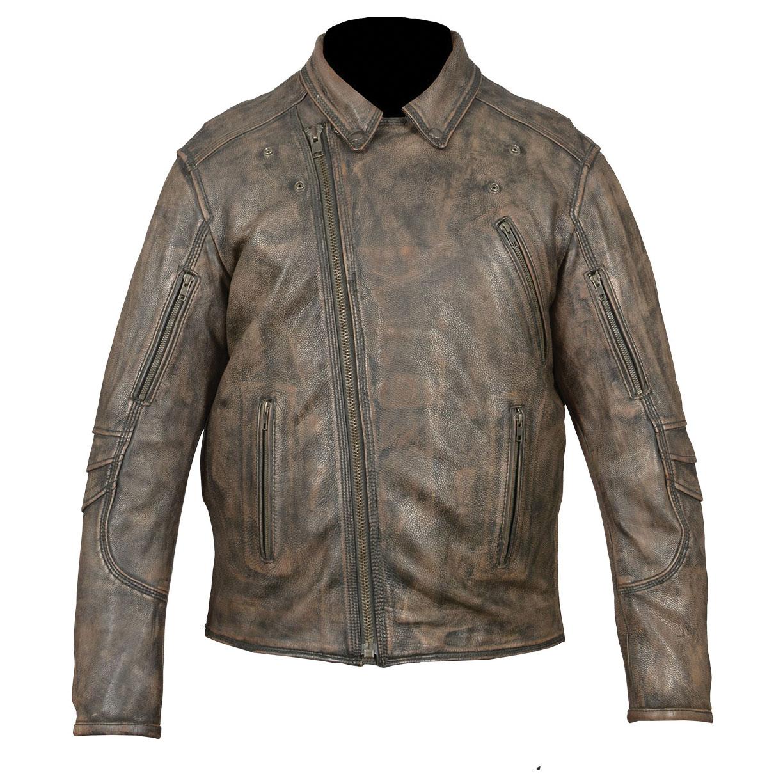 Vance Leathers Men's Beltless Distressed Brown Leather Jacket