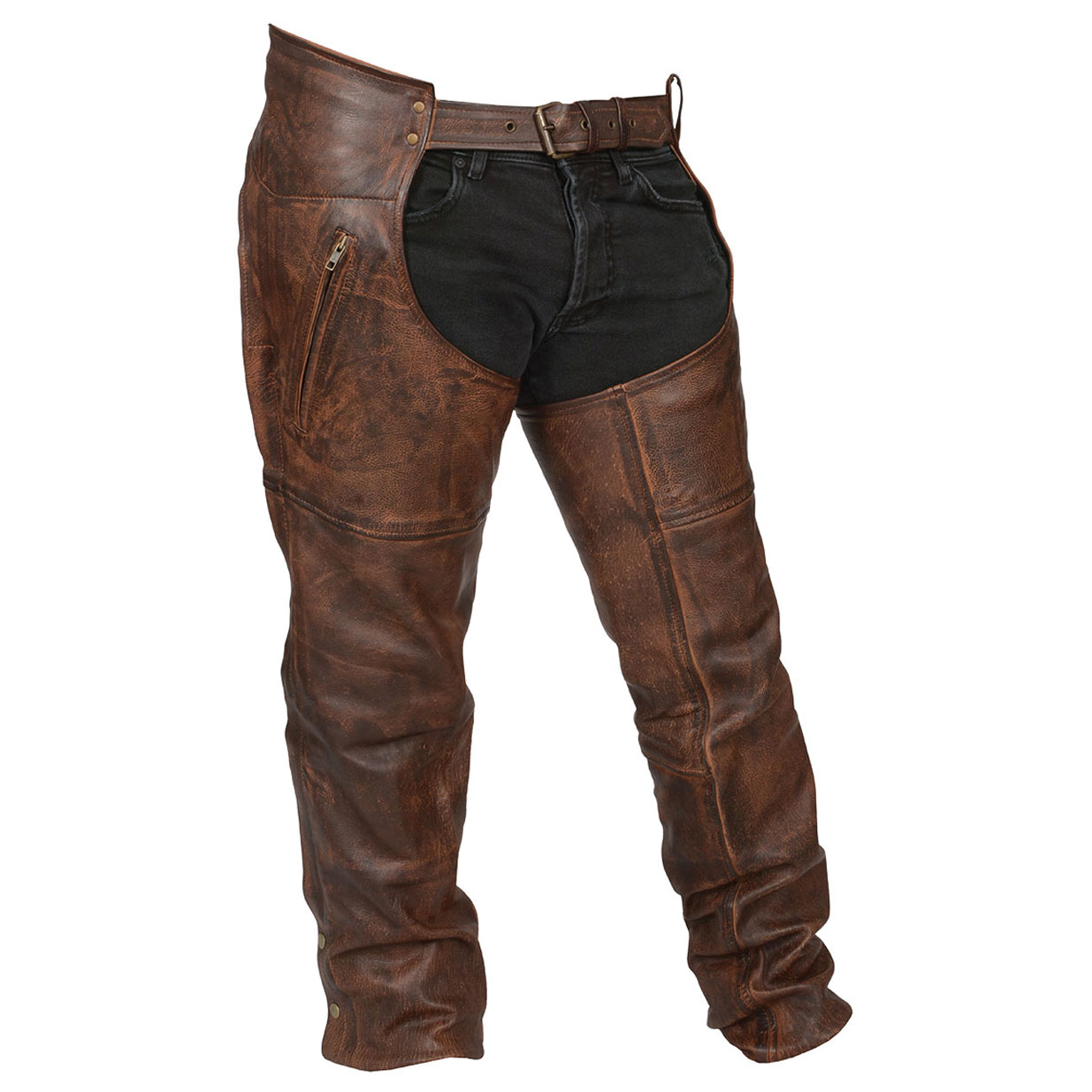 Vance Leathers Men's Classic Lightweight Vintage Brown Leather Chaps