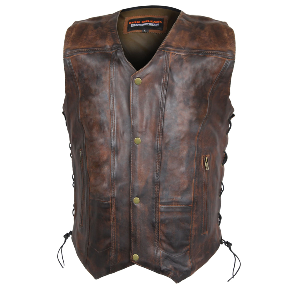 Vance Leathers Men's Classic Lightweight Vintage Brown Leather Vest