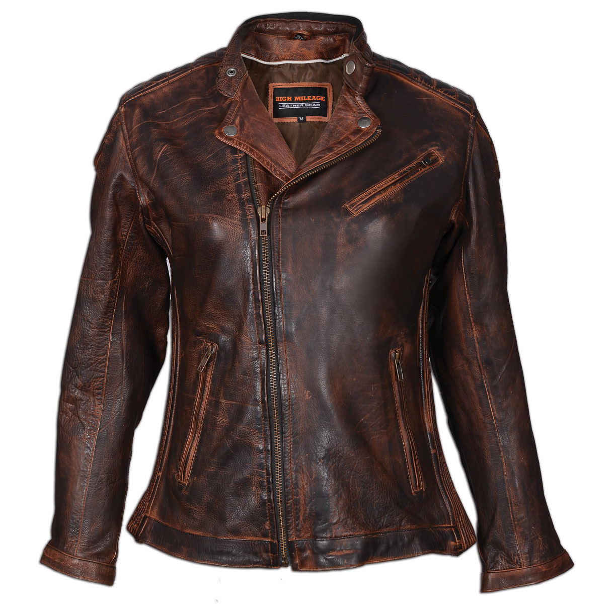 Vance Leathers Women's Classic Lightweight Vintage Brown Leather Jacket