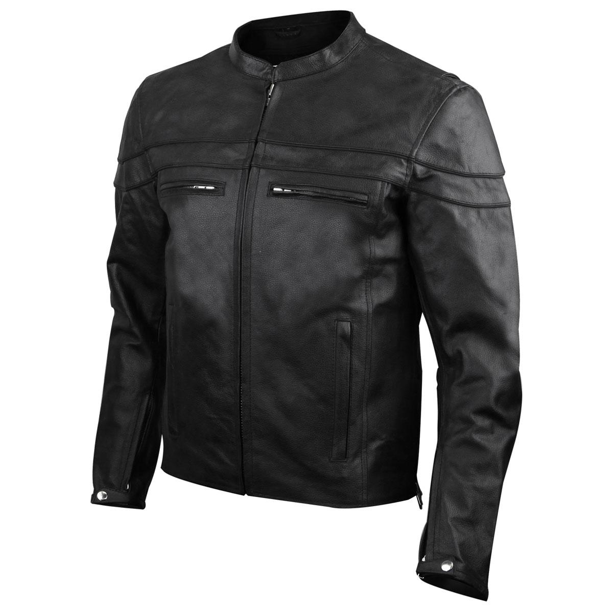 Vance Leathers Men's Racer Black Leather Jacket